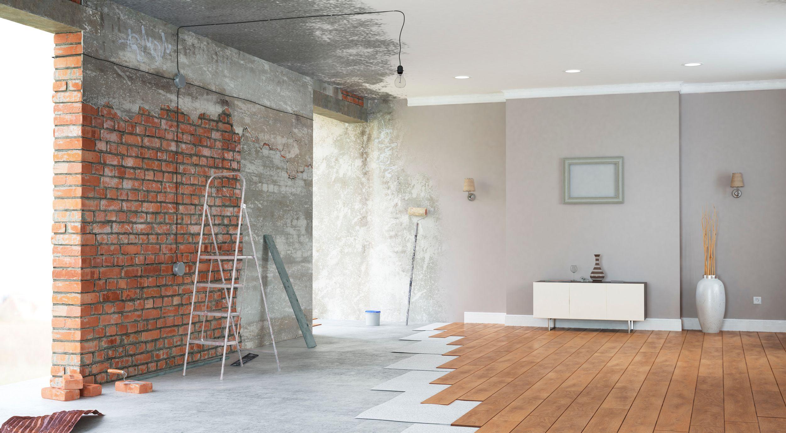 Renovation interior with bright windows. 3D render